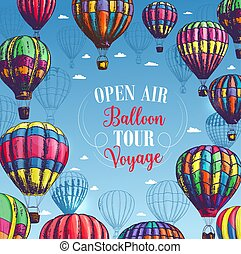 Vector poster for hot air balloon trip tour