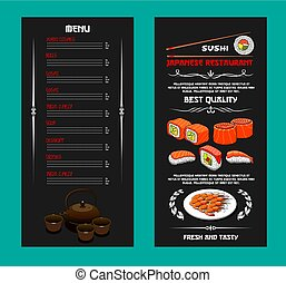 Vector menu of Japanese restaurant or sushi bar - Japanese...