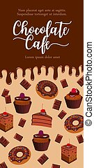 Vector banner for chocolate desserts cafe - Chocolate cafe...