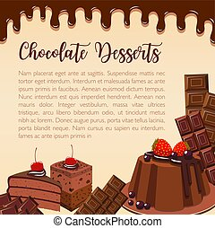 Vector poster of chocolate desserts and cakes - Chocolate...