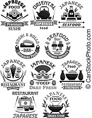 Vector icons for Japanese sushi food restaurant - Sushi bar...