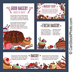 Vector templates for bakery shop cakes dessers - Bakery shop...