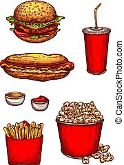 Vector sketch icons fast food snacks or hamburgers