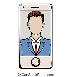 Smart phone with a skype video icon cartoon - Smart phone...