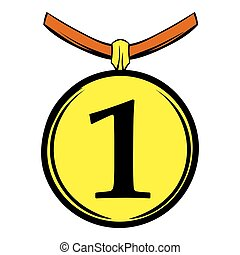 1st place medal icon cartoon