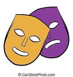 Theater masks icon cartoon - Theater icon in cartoon style...