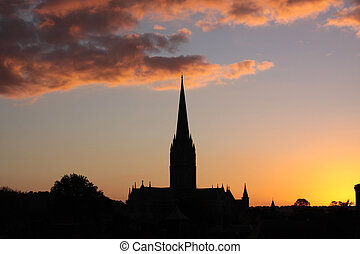 Cathedral Sunset - A winter sunset over Salisbury Cathedral...
