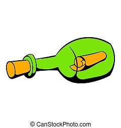 Bottle with letter icon, icon cartoon - Bottle with letter...