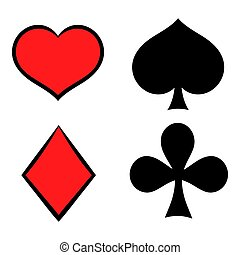 Playing card suit in black and red icon in icon in cartoon...