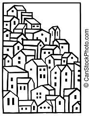 Mountain Village Vector Blank Illustration