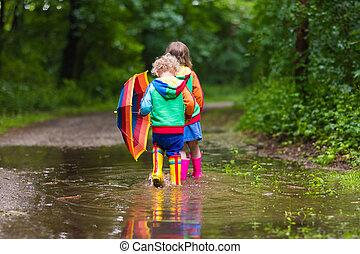 子供, 傘, 遊び, 雨
