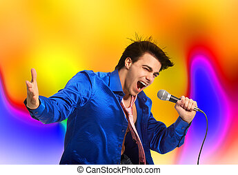 Karaoke signer - Happy karaoke signer. Over abstract...