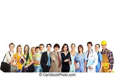 人々, グループ, 上に, 大きい, 背景, 白, 微笑