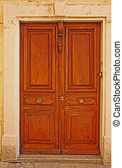 Old French doors. Str. Arceaux 11, Antibes, Cote d'Azur,...