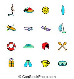 Water Sport icons set cartoon - Water Sport icons set in...