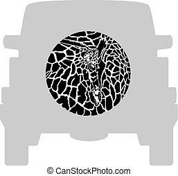 Wheel Cover - Giraffe.eps - Vector label on a spare wheel...