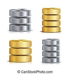 Network Database Disc Icon Vector Set. Realistic Illustration Of Computer Hard Disk. Golden Metal, Silver, Chrome. Backup Concept Isolated On White