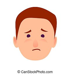 Sorrowful Face Emotion on Man-child Close-up Icon -...