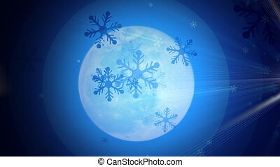Moon and Snowflakes - Computer-rendered animation for TV or...