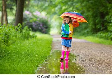 傘, 遊び, 雨, 子供