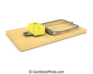 Wooden mousetrap over white