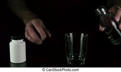 Pour water take pills drink tablets - Men's hands pour water...