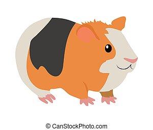 Guinea Pig Cartoon Icon in Flat Design - Cute guinea pig...