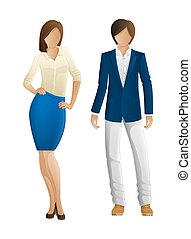 Man and Woman Faceless Models. New Collection