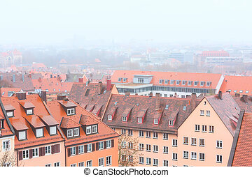 Aerial view of Nuremberg, Franconia during foggy weather in...