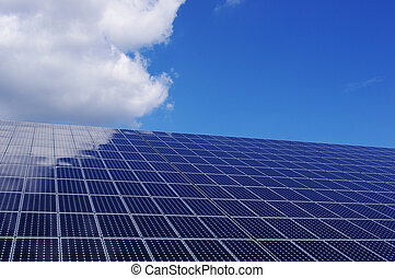 Solar panel against blue sky. Renewable, clean energy.