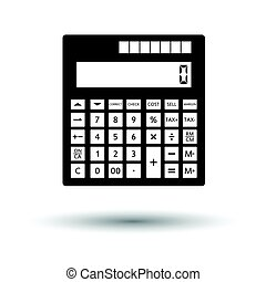 Statistical calculator icon. White background with shadow...