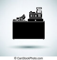 Supermarket store counter desk icon on gray background,...