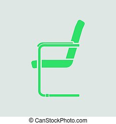 Guest office chair icon. Gray background with green. Vector...