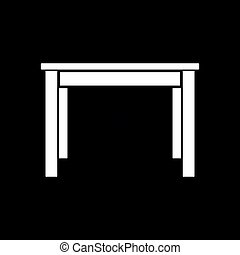 Dinner table icon. Black background with white. Vector...