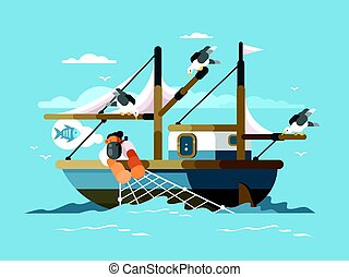 Fisherman pulls fishing net from sea with fish. Vector...