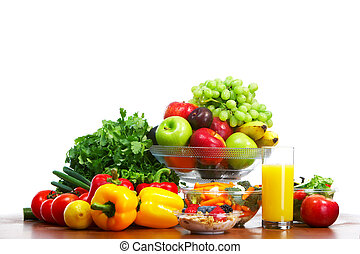 Vegetables and fruits. Apple, carrot, plum, sweet pepper