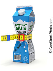 Low fat milk concept - 3D concept with abstract milk carton...