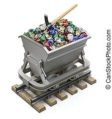 Gems and diamonds in the mining cart - 3D illustration