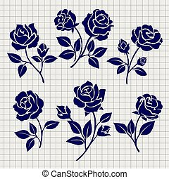 Roses collection on notebook page