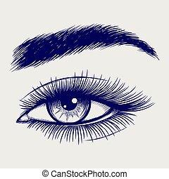 Pen sketch of beautiful female eye