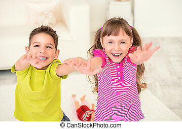 asking for sweets - Portrait of happy joyful children at...