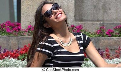 Hispanic Girl Wearing Sunglasses