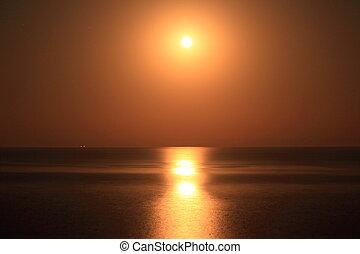Moon light on water surface