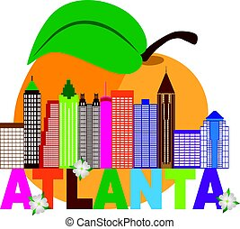Atlanta Skyline Peach Dogwood Colorful Text Illustration -...
