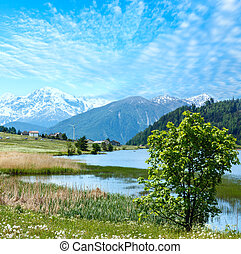 Summer mountain landscape with lake (Italy) - Summer...