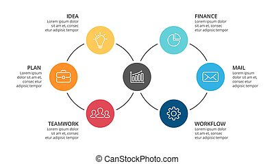 Vector circle arrows infographic, cycle diagram, graph, presentation chart. Business concept with 6 options, parts, steps, processes. 16x9 slide template.
