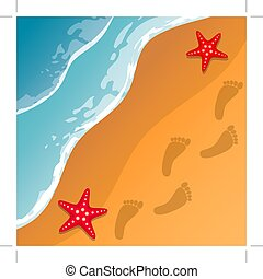 Beach background. Sea shore. The waves and sand. Sea stars. Traces of feet in the sand. Vector .
