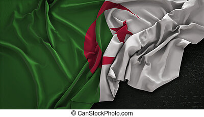 Algeria Flag Wrinkled On Dark Background 3D Render