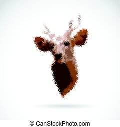 Vector of deer head on white background. Wild Animals.