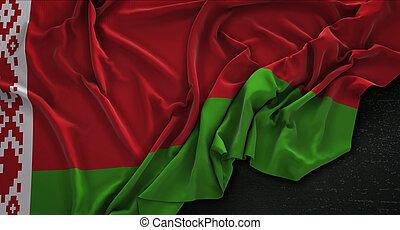 Belarus Flag Wrinkled On Dark Background 3D Render